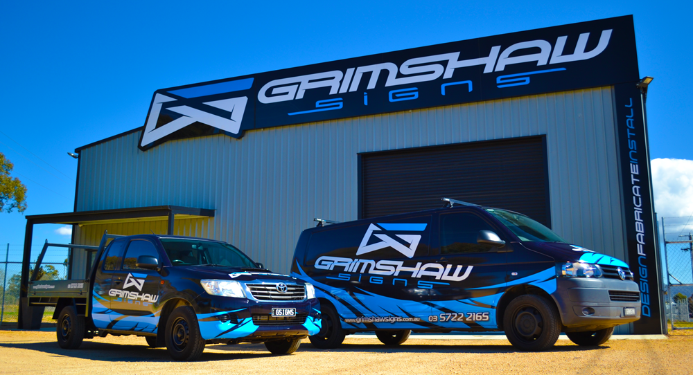 grimshaw signs and vehicles signage